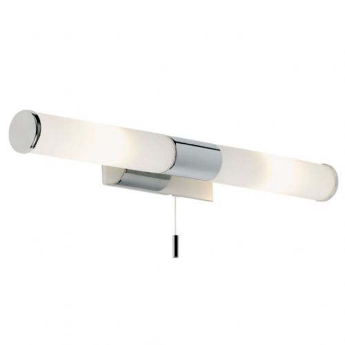 Chrome effect plate & matt opal glass IP44 Bathroom Wall Light BXEL-257-WB-17  (Double Insulated)
